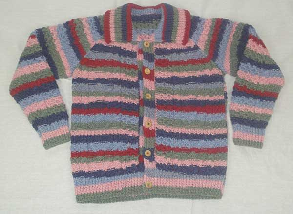 13A Childs Lumber Cardigan Assorted New Lanark Wool