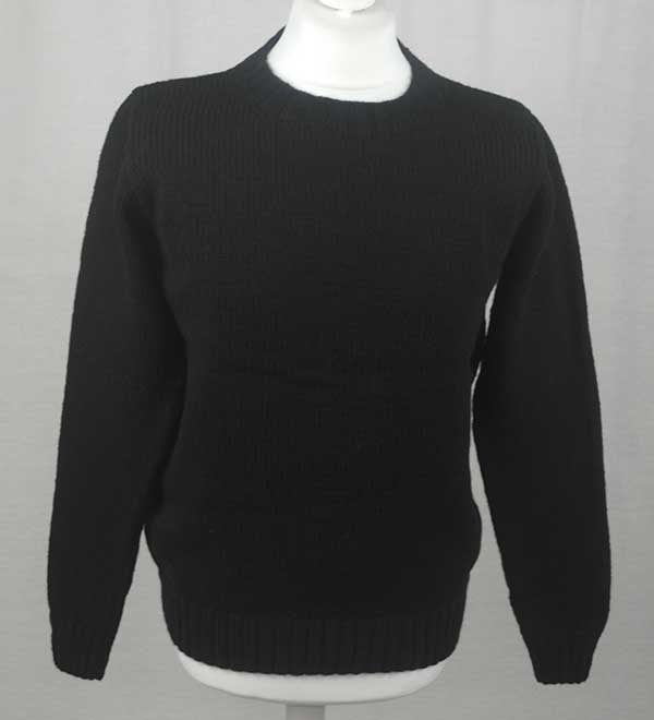 Hand Framed Crew Neck Sweater black