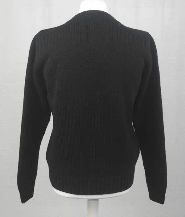 Hand Framed Crew Neck Sweater black back