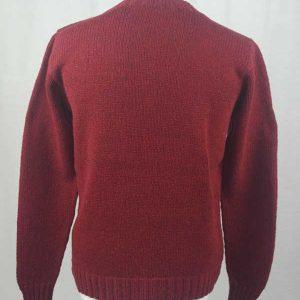 Hand Framed Crew Neck Sweater Red Back