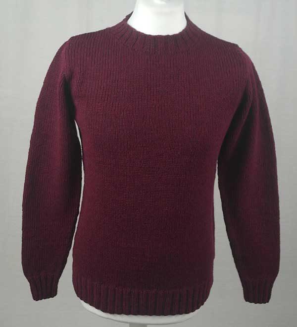 Hand Framed Crew Neck Sweater Bordeaux