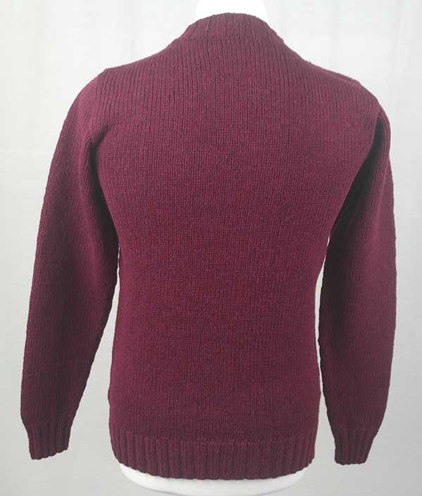 Hand Framed Crew Neck Sweater Bordeaux Back