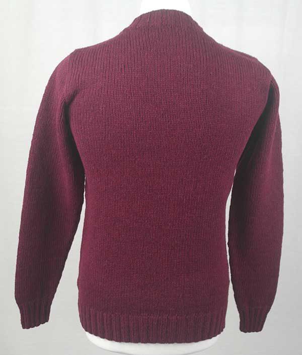 Hand Framed Crew Neck Sweater Bordeaux Back