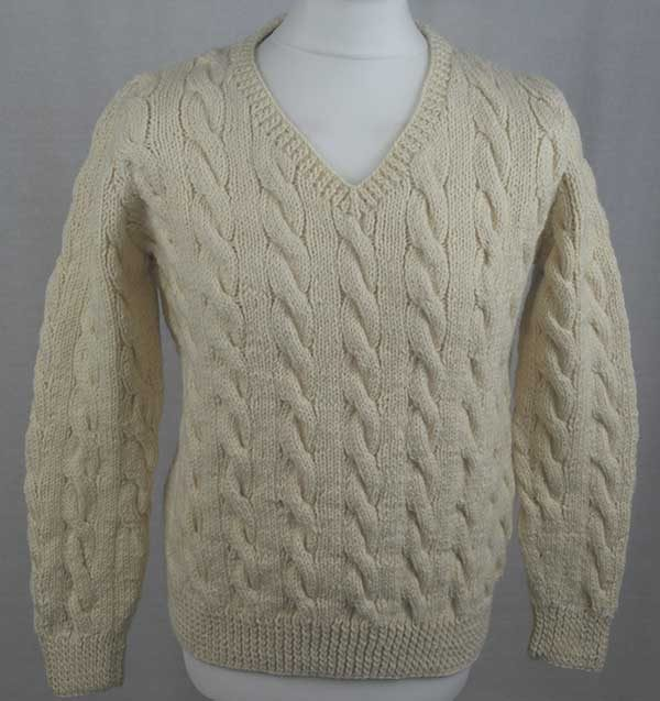 205 Cambus Cabled Sweater Front Natural