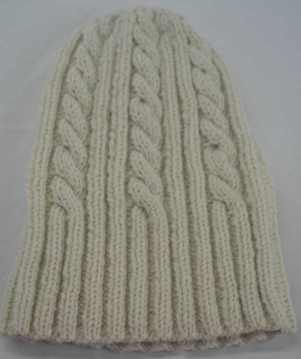 22F Rib & Cable Hat White Full