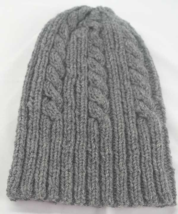 22F Rib & Cable Hat Grey full