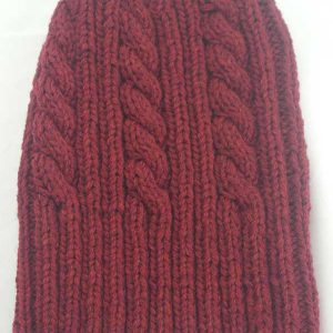 22F Rib & Cable Hat Red Hot
