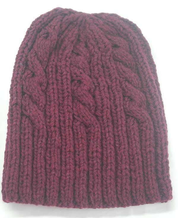 22F Rib & Cable Hat Bordeaux Full