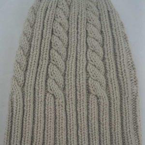 22F Rib & Cable Hat Linen Full