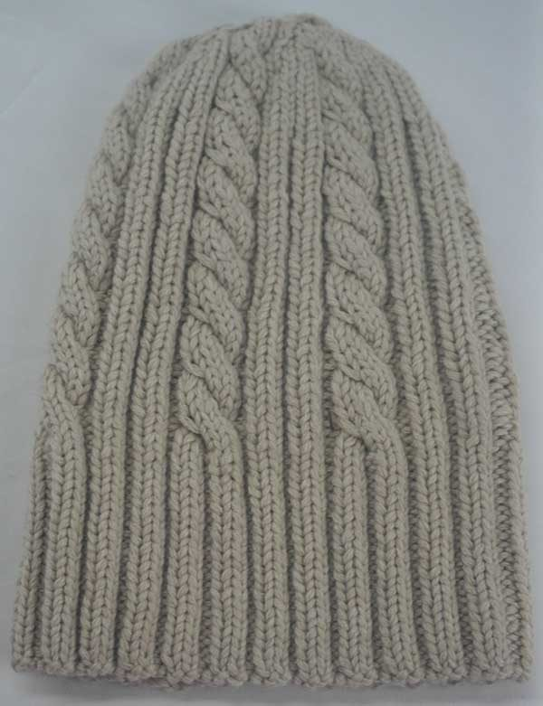 22F Rib & Cable Hat Linen Full