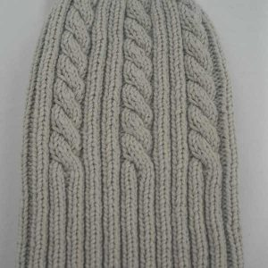 22F Rib & Cable Hat Hessian Full