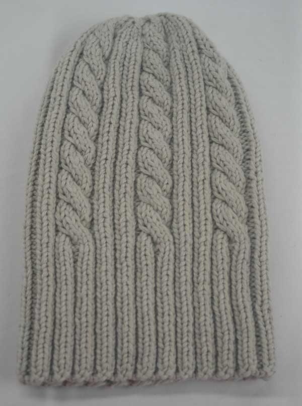 22F Rib & Cable Hat Hessian Full