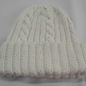 22F Rib & Cable Hat White