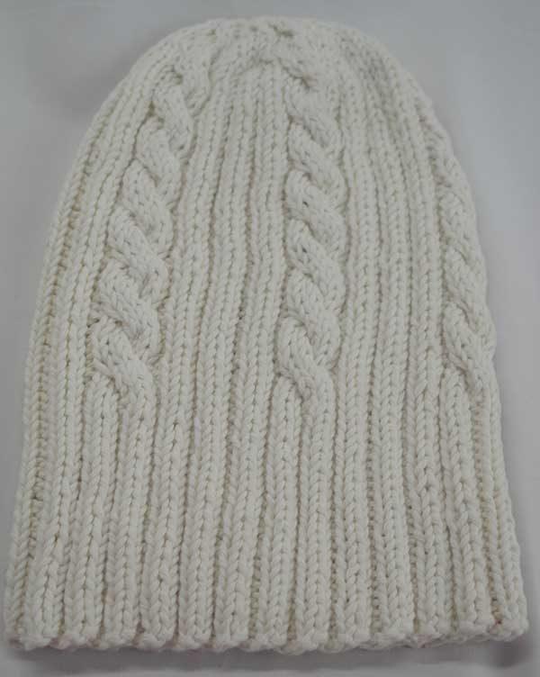 22F Rib & Cable Hat White Full