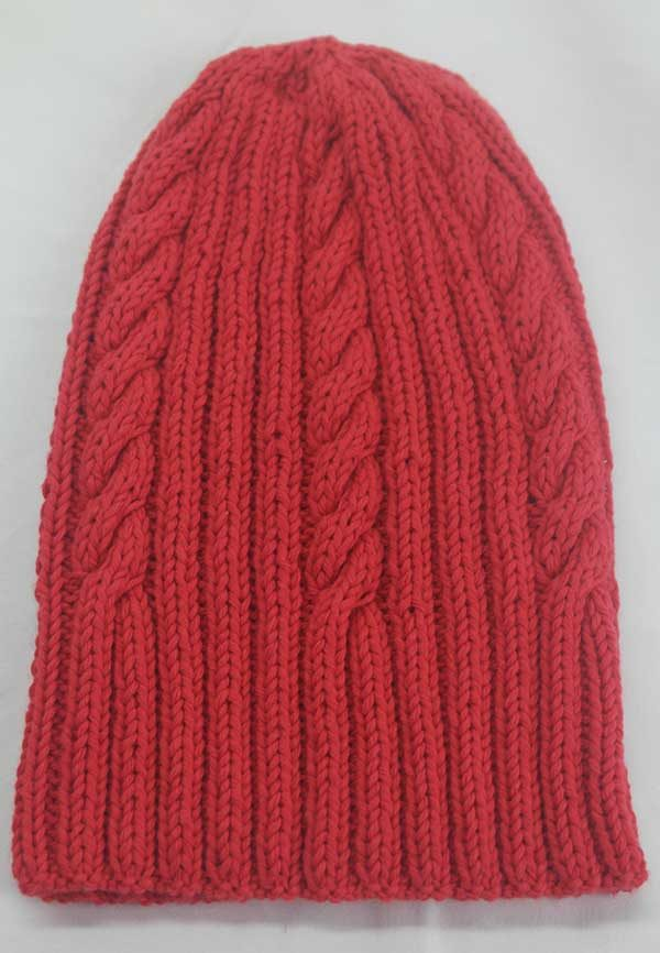 22F Rib & Cable Hat red full