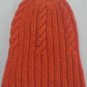 22F Rib & Cable Hat poppy full