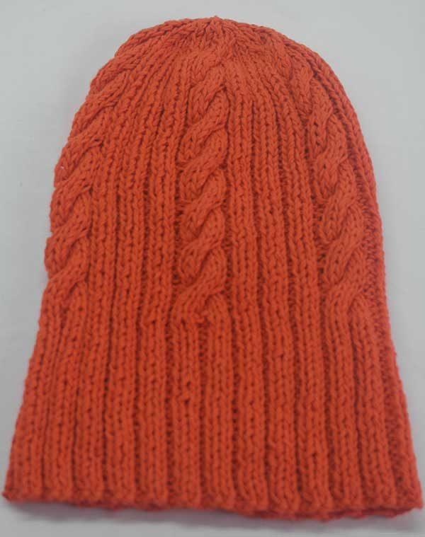 22F Rib & Cable Hat poppy full