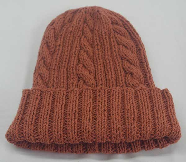 22F Rib & Cable Hat Terracota