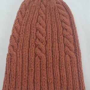 22F Rib & Cable Hat Terracota full