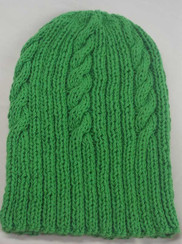 22F Rib & Cable Hat Emerald Full