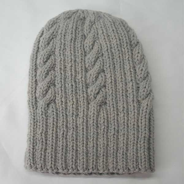 22F Rib & Cable Hat Pale Grey