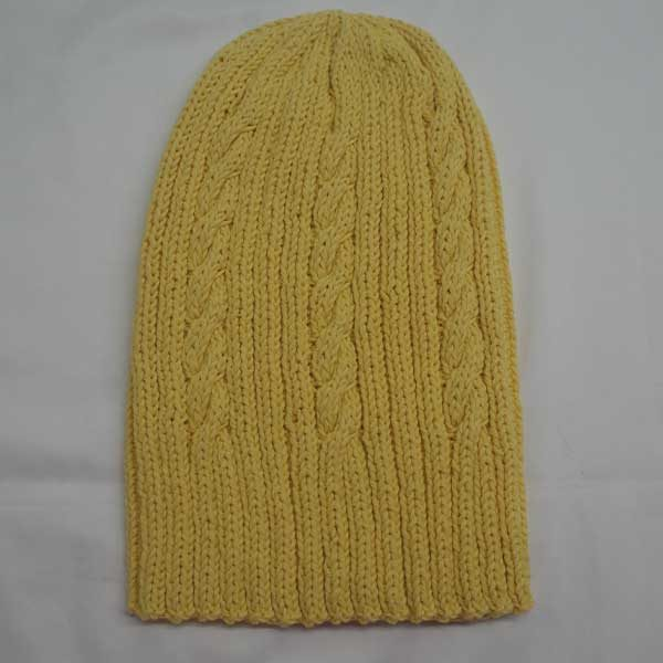 22F Rib & Cable Hat 308a Yellow 509
