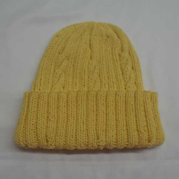 22F Rib & Cable Hat 308b Yellow 509