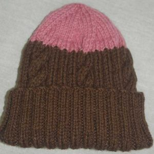 22F Rib & Cable Hat Brown