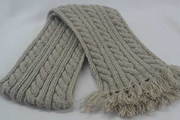 22F Rib & Cable Scarf Putty