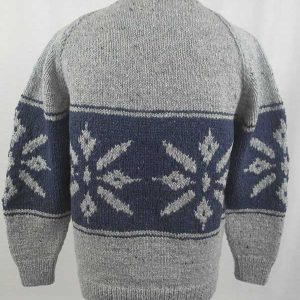 31C Snowflake Crew Neck Sweater Grey Back