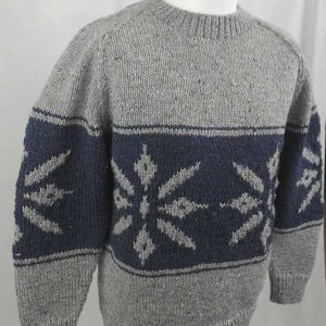 31C Snowflake Crew Neck Sweater Grey Side