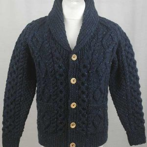 6A Shawl Collar Cardigan Blue