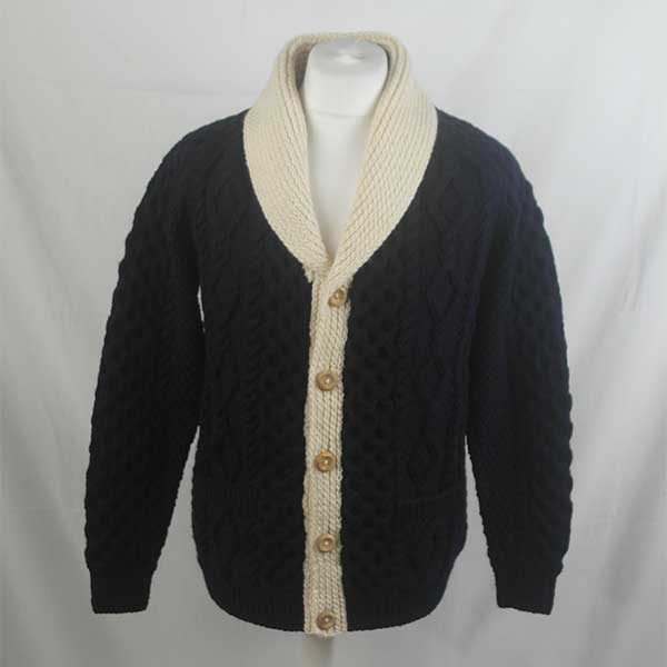 6A Shawl Collar Cardigan 317a Navy-Natural