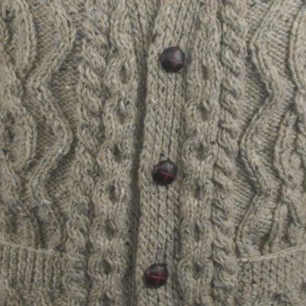 8E V-Neck Cardigan Coffee Donegal Tweed