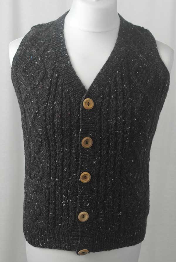 9H Aran Waistcoat Grey