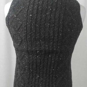 9H Aran Waistcoat Grey Back