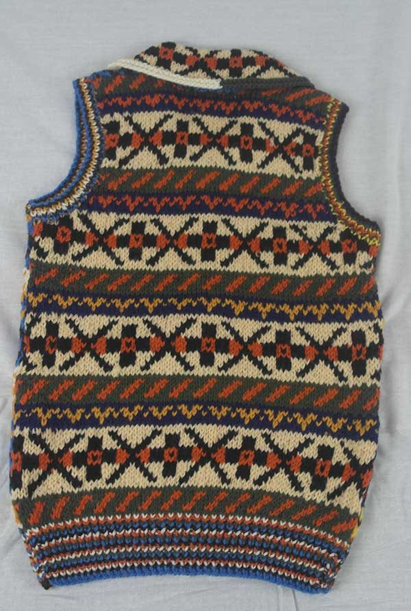 9P Assorted Pattern Fairisle Waistcoat Assorted Back