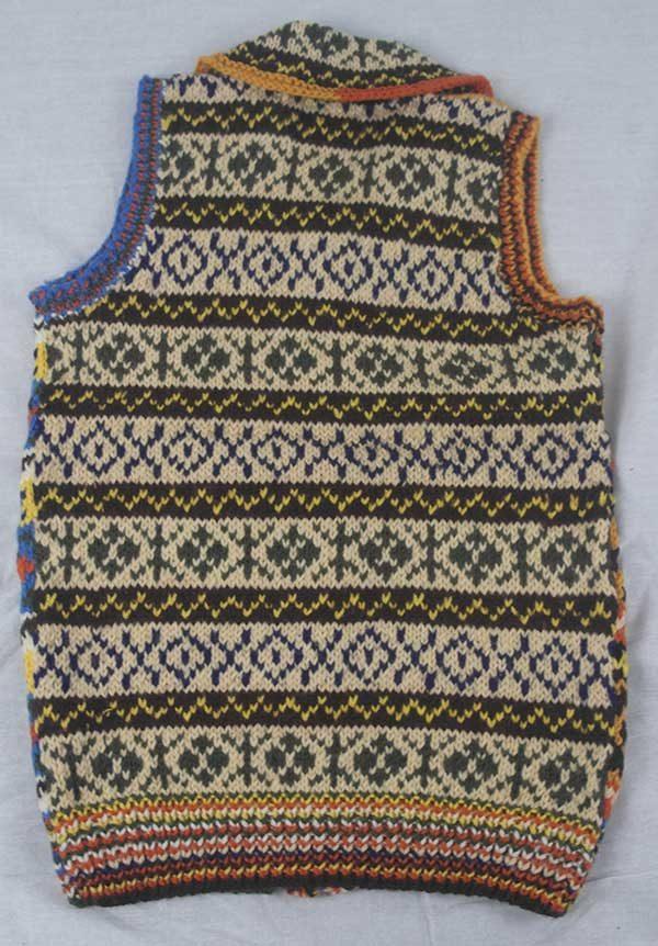 9P Assorted Pattern Fairisle Waistcoat Assorted Back