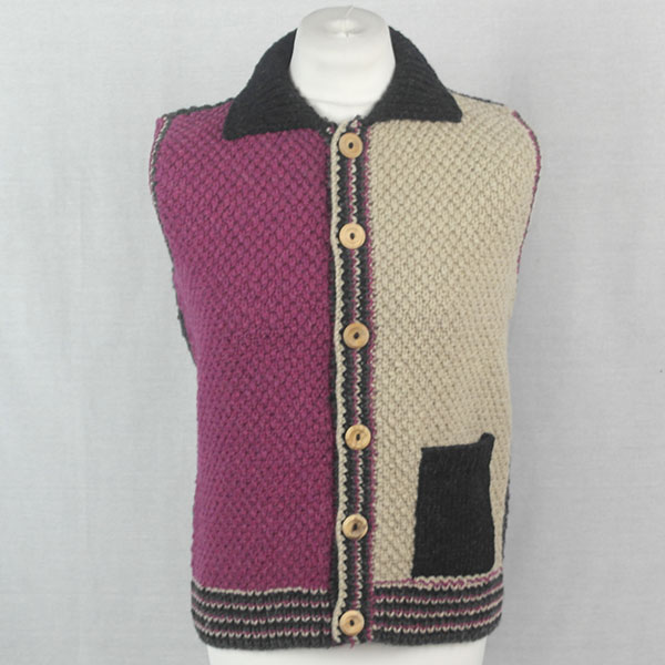 9Q Multi Colour Moss Stitch Waistcoat 519a Assorted - Front