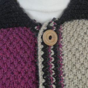 9Q Multi Colour Moss Stitch Waistcoat 519c Assorted - Close Up