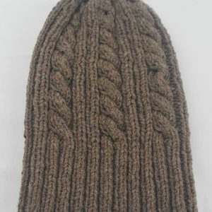 22F Rib & Cable Hat & Scarf Set Nutmeg
