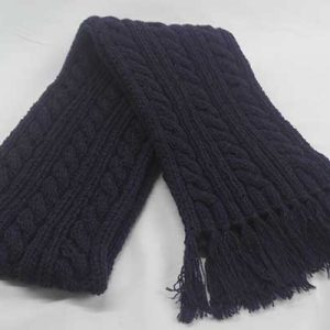 22F Rib & Cable Hat & Scarf Set Blueberry