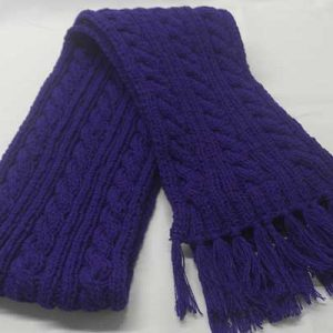 22F Rib & Cable Hat & Scarf Set jewel