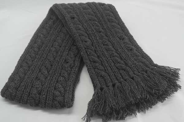 22F Rib & Cable Hat & Scarf Set Elephant