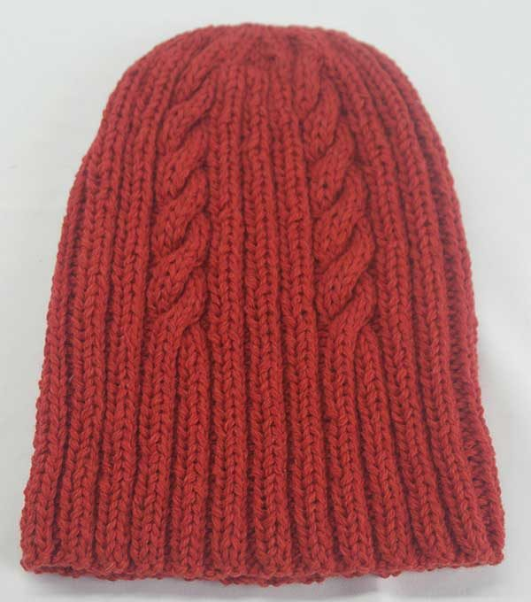 22F Rib & Cable Hat & Scarf Set Brandy