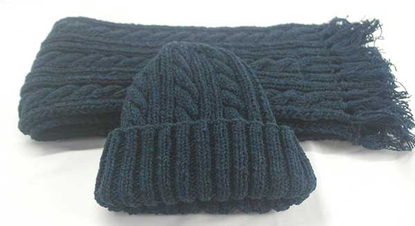 22F Rib & Cable Hat & Scarf Set Petrel