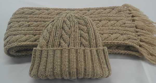22F Rib & Cable Hat & Scarf Set Tusk