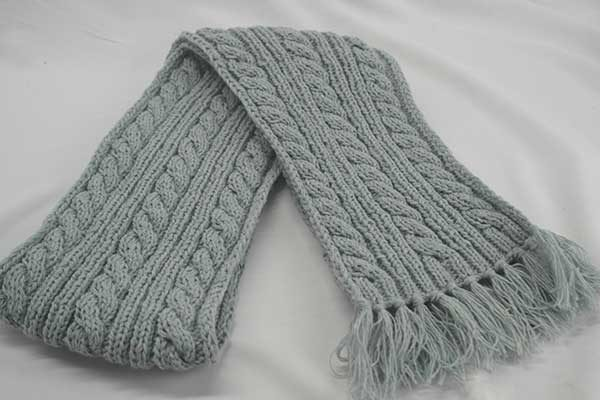 22F Rib & Cable Hat & Scarf Set Frost