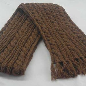 22F Rib & Cable Hat & Scarf Set Pecan