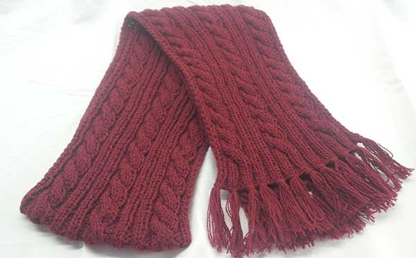 22F Rib & Cable Hat & Scarf Set Red